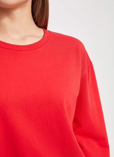 DeFacto Gömlek Detaylı Uzun Kollu Tunik Kırmızı